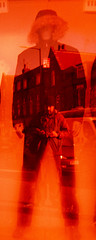 dummy and reflected self-portrait (pho-Tony) Tags: color colour 6x6 mediumformat square daylight xpro cross kodak iso400 crossprocess twin shift slide plastic waist cast 400 brownie 1960s dual 20 process simple fujichrome provia finder e6 glitch eyepiece 620 colorcast waistlevel colourcast 400x brownietwin20 fujichromeprovia400x