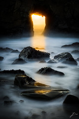 Making up... (Joost Daniels) Tags: longexposure sunset reflection beach water rocks waves pacific pfeiffer pfeifferbeach beamoflight whoreadstheseanyway keyholerock