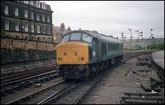 Scarborough Peak (tatrakoda) Tags: uk blue england film station train 35mm diesel britain yorkshire engine peak railway loco epson scarborough locomotive analogue v600 signal semaphore class45
