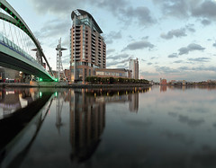 Salford Quays (seegarysphotos) Tags: garylewis salfordquays manchester mediacity water bridge lights dark night cityscape urban nightscene neon neonlights reflections river clouds sky dusk twilight moody atmosphere buildings offices apartments