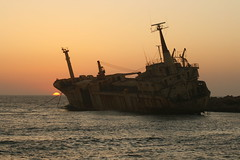 "Shipwreck ""Edro III"" by sunset (Justus T) Tags: sunset sea sun ship shipwreck boat sunken sunk cyprus pafos paphos vessel vessels water"