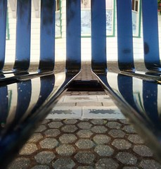 View through a park bench ... (Beeke...) Tags: urban abstract lines reflections bench chairs stripes details squareformat opticalillusion minimalist abstractreality explore234