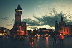 Old Town (Francesca Vinzia) Tags: prague czechrepublic night light oldtown city sunset sky clouds square centre travel