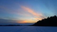 Cold winter day (sakarip) Tags: sakarip winter cold freeze snow ice lake finland tuusula january phone cellphone samsung north arctic sky cloud forest sunset tracks path