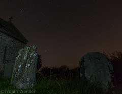 Perseid meteor shower and light painting (Trojan Wonder) Tags: night sky light painting paintingwithlight church graves