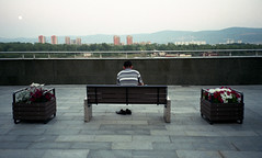 - (Igor Verkhovskiy) Tags: olympus mjuii 35mm film fujifilm russia siberia krasnoyarsk verkhovskiy filmnotdead filmforlife filmnotmegapixels filmcollective filmcommunity keepfilmalive savefilm analogcamera analogue street streetphotography photojournalism photooftheday man sits back legless bench mountains