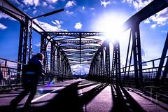 Runing Line (Thomas TRENZ) Tags: austria nikon sonne stadterkundung tamron thomastrenz travel vienna bridge brcke children cityexplore clouds d600 himmel kind licht light metal metall sky stahl steal sun unterwegs way weg wien woken sterreich