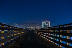 plank (pbo31) Tags: california bayarea nikon d810 color september fall 2016 boury pbo31 night dark black weekend northerncalifornia emeryville eastbay alamedacounty bay infinity plank pier apartment building 80 blue