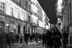 65/365 - night crowd (eggii) Tags: moniszkistreet street bw project365 365 project monochrome mono people blur long exposure lightmovefestival2016