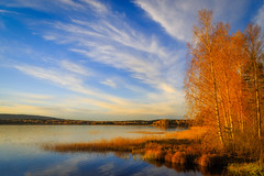 The beautiful changes (PixPep) Tags: autumn autumncolours fall lake clouds blue yellow red sunset pixpep nysockensjn vrmland arvika norserud rud sverige sweden