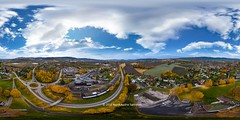 360 degree image from Lier, Norway (B.AA.S.) Tags: equirectangular lier lierbyen aerialview aerial buskerud village drone autumn autumncolors norway norge nature natur landscape landskap sky clouds season road highangleview highup 2016 october city drammen 360degree 360 panorama panoramic hst field tree trees architecture building buildings outdoors day