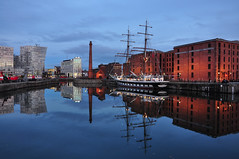 Reflections (Wandering Ilara) Tags: city uk travel blue sunset sea england sky water architecture liverpool docks buildings reflections river boats nikon dusk ships ngc symmetry quay mersey quayside canningdock nikond90 reflectionlovers bestofblinkwinners