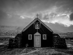 A Church with a Graveyard (Saurbaer, Northern Iceland. Gustavo Thomas  2013-2014) (Gustavo Thomas) Tags: old winter blackandwhite bw cold blancoynegro church monochrome cemetery graveyard landscape iceland islandia view cementerio north scenic iglesia paisaje invierno passage liver glise christians bnw biancoenero islande icelandic panten blancetnoir monocromtico nocolor ancientchurch lutheranchurch saurbaer