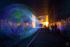 LED light spinning in Sacramento (PhotosWithDom) Tags: california road longexposure nightphotography railroad abandoned wool night canon long exposure track steel spin tracks rail tunnel led abandon spinning sacramento steelwool canon6d