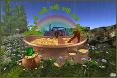 Pots of Leprechaun Gold (AliceMayG) Tags: flowers forest gold rainbow coins sl secondlife boudoir bathing shamrocks redheads stpatricksday potofgold