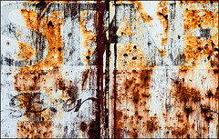 Falstaffage in Situ (Junkstock) Tags: california old abstract texture beer closeup typography photography photo graphics junk rust diptych paint graphic photos decay rusty textures photographs photograph rusted type campo weathered abstraction aged distressed corrosion decayed corroded oldstuff