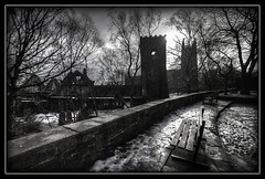 Heptonstall (Missy Jussy) Tags: trees light england bw monochrome wall bench mono blackwhite shadows path yorkshire historical walkways heptonstall historicaltown stthomastheapostle heptonstallchurchruin