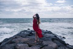 The Crashing Waves (Alex Thao) Tags: ocean morning red portrait cold art fashion hair high model long dress fine wave melbourne story portraiture coastline conceptual seashore telling tides