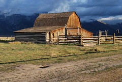 John Moulton Barn (mike_jacobson1616) Tags: sky mountain mountains fog barn sunrise dawn nationalpark barns homestead peaks tetons iconic grandteton tetonrange grandtetonnationalpark mormonrow moultonbarn johnmoultonbarn mormonrowhistoricdistrict