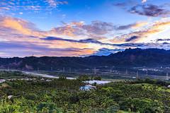 sunrise () Tags: sun mountain color tree clouds sunrise river