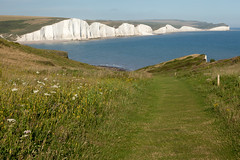 Looking back   Seven Sisters walk   July 2016-58 (Paul Dykes) Tags: southdowns southdownsway southcoast coast cliffs sea shore coastal englishchannel sussex england uk seaside sun sunnyday chalk downs hills countryside