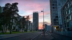 Kahvikatu [Explored 24.7.16] (timo_w2s) Tags: vuosaari aurinkolahti kahvikatu sunset pink sky helsinki finland summer evening cirrus