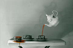 Tea is Served (TayyabTRK) Tags: shadow blackandwhite bw monochrome photoshop canon 50mm blackwhite tea indoor bnw cs6 650d