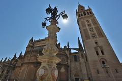 Seville Cathedral (HDH.Lucas) Tags: sky sun fountain spain seville lucas espana cannon andalusia