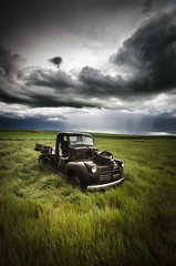 After The Storm (Explored) (Stubble Jumper Photography) Tags: storm abandoned clouds rural truck rust farm pickup alberta prairie drama thunder patina