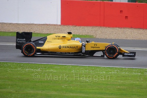 Jolyon Palmer in his Renault at Formula One In Season Testing at Silverstone, July 2016