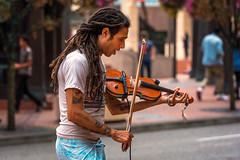Busker (llabe) Tags: soloist solo man dreadlocks violin busking busker streetmusician streetphotography urban downtown portland oregon nikon d750