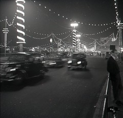 Southend Illuminations Thames Amusements Burgers Neon Lights Winter 1962 People (Photos by Alf Jefferies) Tags: southend thames amusement seaside cruise signs burgers ladies hats lights neon illuminations