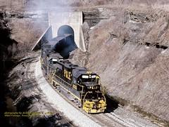 .(SEE & HEAR)---PLE 2033 White Cottage, PA 2-08-90 (jackdk) Tags: train railroad railway locomotive emd emdgp38 emdgp382 gp38 gp382 coal coaltrain coaldrag ple pittsburghandlakeerie mga monongahela monongahelarailway tunnel whitecottage standardcab seeandhear seehear