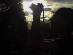 Back (SoyAngieMafla) Tags: camera light sunset sun tree luz sol girl beautiful silhouette arbol atardecer colombia niña silueta hermosa camara contour contorno