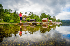 Reflected (Richard Larssen) Tags: richard richardlarssen reflection reflections hordaland sunnhordland larssen landscape sea seascape scandinavia sony sky sel1635z sveio norway norge norwegen water photography girl woman portrait posing clouds
