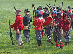 Hampton court 1640's - 12 Here they come lads (Row 17) Tags: uk unitedkingdom gb greatbritain britain england herefordshire reenactment event 1640s people men man soldier soldiers candid military army militia parliamentarians costume costumes women woman sealedknot