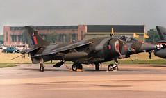 J for Jump (crusader752) Tags: raf royalairforce hawkersiddeley harrier gr3 xv758j no233ocu 233ocu rafmildenhall airfete 1985 jumpjet vtol stol jet jetfighter fighter fighterjet aircraft