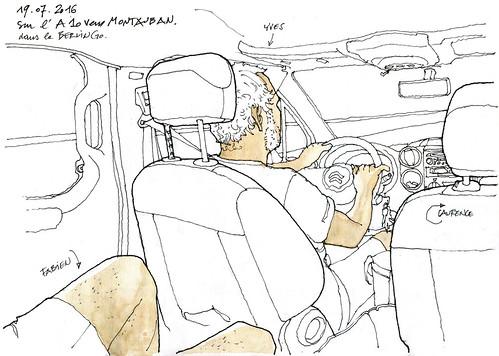 sur la route de Montauban (gerard michel) Tags: auto sketch croquis