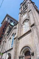 spire - Old Stone Church - Cleveland Ohio (Tim Evanson) Tags: oldstonechurch church presbyterianchurch nationalregisterofhistoricplaces clevelandlandmark clevelandohio publicsquare romanesquerevivalarchitecture architecture