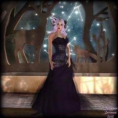 Aries (JuliannaSeriman) Tags: fabfree fabulouslyfree fabulouslyfreeinsl secondlife juliannaseriman blueshair lumae ikon bluemoonenterprise womensstuffhunt gown purple blithe
