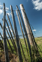 Don't fence me in... (+Pattycake+) Tags: textures sun summer landscape sunday river yare rivertrip outdoor stbenets water norfolk norfolkbroads fence wire wood sky light clouds countryside rural