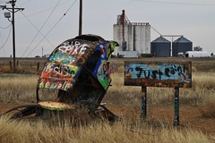 Just Paint (Lights in my hometown) Tags: conway texas bugranch volkswagen vw beetle bug painted motherroadroute 66 crazy roadside attraction old highway