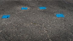 Four Blue Covers (Number Johnny 5) Tags: yarmouth d750 2470mm east industrial manhole abstract cover blue road tamron drain tarmac great anglia norfolk nikon