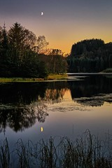 Autumn evening, Norway (Vest der ute) Tags: norway rogaland haugesund djupadalen waterscape landscape trees reflections moon fav25 fav200