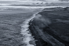 Monochrome Black Beach (katrin glaesmann) Tags: iceland vk beach unterwegsmiticelandtours photographyholidaywithicelandtours dyrhlaey monochrome blackandwhite clouds sand sea viewfromthecliff
