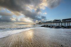 Southwold Beach (Chris Deas) Tags: southwold nikon 1424 sea sand seascape landscape water waves pier rocks cloud sky sunrise