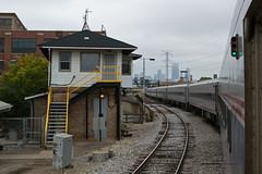 TowerA2ChicagoIL10-15-16 (railohio) Tags: amtrak metra trains chicago illinois j3 101516 hiawatha 334 tower a2 skyline signals