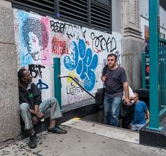 Subway Exit (UrbanphotoZ) Tags: subwayexit beggar passengers exiting streetart urbanart graffiti artweallone leaf allthesestrangepiecescametogethertocreatethisbeautifulimage ashumanssocanwe letscometogether westside manhattan newyorkcity newyork nyc ny flowerdistrict