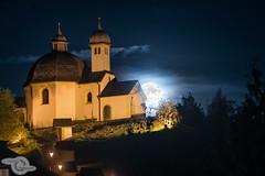 Supermoon (Danijel Jovanovic Photography) Tags: moon mond innsbruck tyrol tirol austria chapel church sky night sony alpha arzl supermoon vollmond landscape