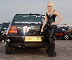 Jackie & VR6 407 (Fast an' Bulbous) Tags: long blonde hair girl woman hot sexy black leather boots vw golf vr6 vwdrc engine carbon clean volkswagen enginecarbonclean corset outdoor vehicle people milf mature herbiesautos